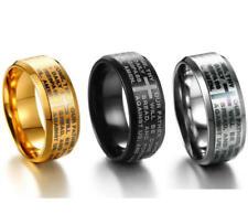 Men Matte Finished Titanium Steel Ring Cross Bible Lord's Prayer Band Size 7-13