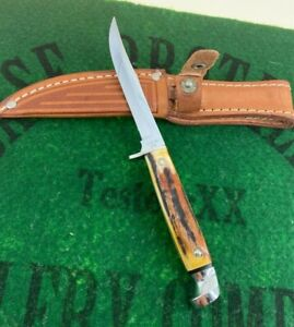 case xx RED STAG M5F fixed blade 1965-69 USA era very rare red stag unused mint