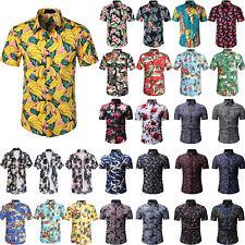 Mens Floral Aloha Hawaiian Shirt Buttons Party Casual Holiday Beach T-Shirt Tops