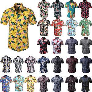 Mens Floral Aloha Hawaiian Shirts Buttons Comfort Casual Summer T-Shirt Tops Hot