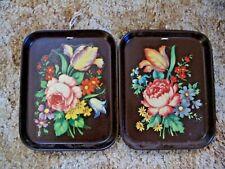2 Vtg Bolt A Bilt Decoupaged Floral Brown rect. serving trays #202A Folk Art(?)