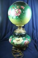 "ANTIQUE VICTORIAN EMERALD GREEN  HAND FLORAL PAINTED GWTW 22"" LAMP as is"