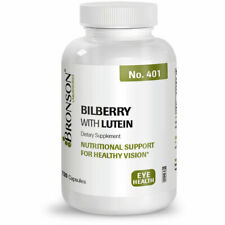 Bronson Bilberry with Lutein Eye Vision Health Antioxdiant Support, 120 Capsules