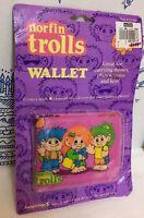 New Vintage Norfin Trolls Wallet Unused On Card 1992 Children Pink Toy Dam NIP