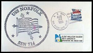 USS NORFOLK SSN 714 ATTACK SUBMARINE~CACHE~23 AUG 1993 CNX FINE/VERY FINE