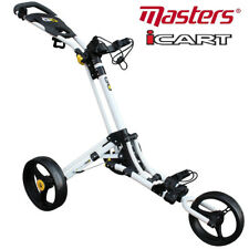 Masters iCart GO 3 Wheel Compact 'One Click' Golf Push Trolley - White/Yellow