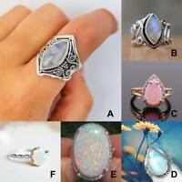 Silver Ring Woman Man White Fire Opal Moon Stone Wedding Engagement Size6-10