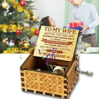 """Wooden Music Box """"TO MY WIFE"""" Engraved Musical Case Toys Love Gifts"""