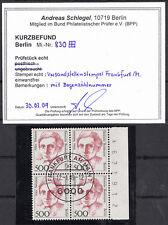 32) Berlin 5 Mark Frauen 830 4er Block zentri. Ersttag gest. mit Bogennummer BPP