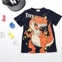 Children Toddler Kids Boys Cartoon Dinosaur Letter Print T-shirt Tops Shirts Tee