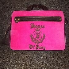 Juicy Couture Pink Suede Laptop Bag With Handles & Strap - New In Box