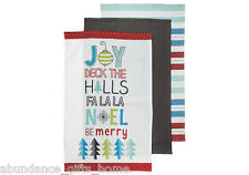 Be Merry 100% Cotton Christmas Kitchen 3 pk Tea Towel Set by Ladelle