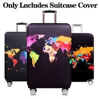 World Map Thicken Luggage Protector Cover Case Suitcase Elastic DustCover Travel