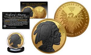 INDIAN HEAD SKULL 1 oz Copper Medallion 24K GOLD GILDED w/ Black Ruthenium SKULL
