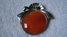 Agate gemstone pin brooch Antique sterling silver Orange