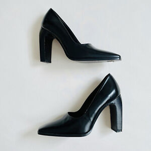 CHARLES DAVID black leather high heel pump court shoes Au 4.5 Eu 35.5   ex cond