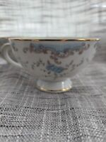 4 Imperial China W Dalton 5303 Seville Footed Tea Coffee Cup  White Blue Gold