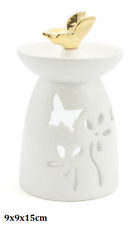 cream butterfly oil burner With golden Butterfly top, new gift boxed