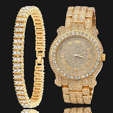Mens Gold Plated Clear Stones 2 Row Hip Hop Bracelet & Fully Cz Watch