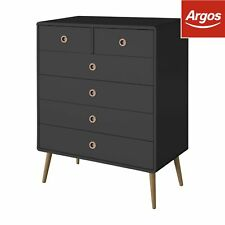 2 4 Scandinavian Chest of Drawers in Black Oak Legs and Handles Made in Denmark