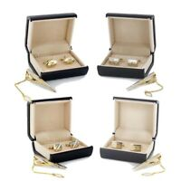 Gold Cufflinks + Tie Clasp Clip Clasp Bar Pin with Matching Box Case Men's Gift