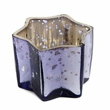 Insideretail Star Tea Light Holders with Distressed Foil, Glass, Lilac, 7 x 4.5