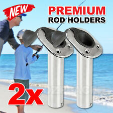 2X 316 Marine Grade Stainless Steel Flush Mount 30° Fishing Rod Holders & Caps