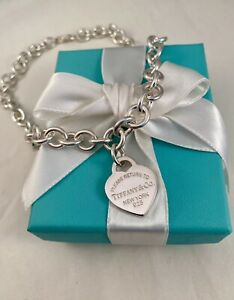 """Tiffany & Co Sterling Silver Return Heart Tag Link Necklace 16"""" RRP $1050"""