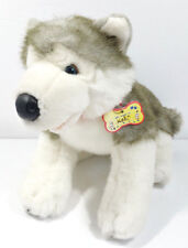 "Build A Bear Workshop Gray White Husky Dog Stuffed Animal Plush Toy 10"" Tall"