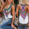 Boho Women Tops T-Shirt Floral Vest Sleeveless Beach Shirt Blouse Tank Tops