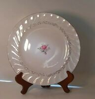"Royal Swirl Dinner Plate 10.5"" wide  Silver trim center rose Fine China of Japan"