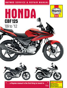HAYNES WORKSHOP SERVICE REPAIR MANUAL HONDA CBF125 M9 MA MB 2009-2012
