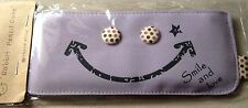 Pencil Holder Case Smile & Love Make Up Pouch Case Purple Color Button Eyed