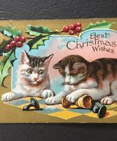 Postcard, 1908 Kittens Playing Chess Christmas Wishes Embossed Gold Vintage P60