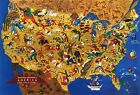 Mid-century America USA Folklore Map Vintage Wall Art Poster History Home School
