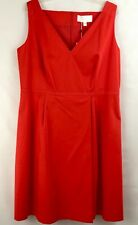 NWT Womens Hugo Boss Dress Size 14 Red Degina V-neck $545