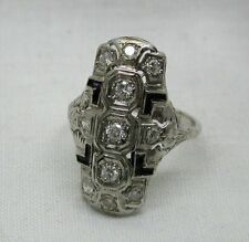 Fabulous Art Deco Large 14ct White Gold Diamond And Enamel Dress Ring Size M
