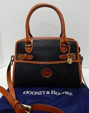 Dooney & Bourke USA Vintage Black British Brown Leather Satchel Crossbody Bag