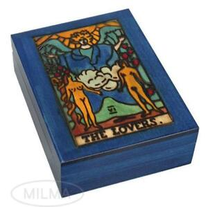TAROT Box Handmade Wooden Keepsake THE LOVERS Tarot Card Holder Box