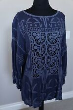 Johnny Was Rayon Crochet Lace Embroidered Sunshine Top Blouse Tunic S Unique