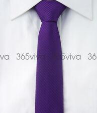 Dark Purple Stripe Men Skinny Slim Narrow Woven Silk 5 cm Necktie Wedding Tie