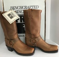 """Frye Leather Harness Boots 7-1/2 M NIB #77300 Gold 13"""" Motocycle"""