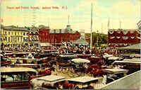 Postcard Asbury Park New Jersey c.1907-1915 Depot And Public Square Horse Buggy