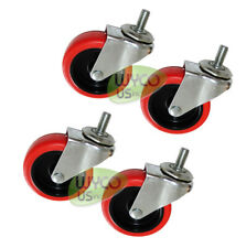 "FOUR (4) 3"" CASTERS, THREADED STEM 3/8""X16, 3/4"" LONG, SHELVES, CARTS, TOYS"