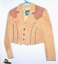 "PIONEER Bolero Wm sz 8 Leather 37"" Western Two-Tone Suede Crop Jacket Coat"