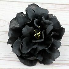 "10P 3"" Artificial Silk Flower Heads Fake Black Peony Rose Big Carnation Craft"