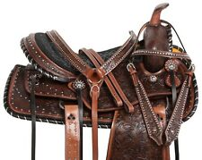 ANTIQUE WESTERN PLEASURE TRAIL LEATHER HORSE SADDLE TACK 15 GAITED