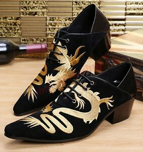 Retro Mens Cuban Heel Cool Business Suede Pointed Toe Dragon Embroidery Shoes