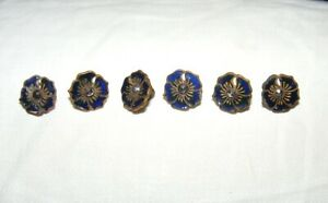 ** Antique Brass & Enamel Pansy Buttons * Dark Blue * 3/8 Inch * Six **