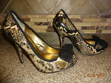 "Womens Guess Sz 8M Leather Snakeskin Shoes 4.5"" Heels Pumps"